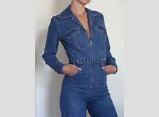 70s Denim Jumpsuit Retro Vintage Zip up by vintagesusanna