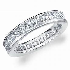 diamond eternity band wedding ring princess square cut 14k white gold 3 00 carat ebay
