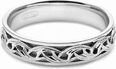 tacori mens wedding band with engraved scroll work 5
