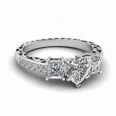 heart shaped vintage 3 stone diamond engagement ring in 18k white gold fascinating diamonds