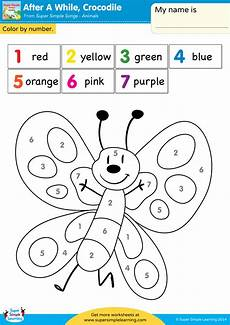 printable color by number worksheets for kindergarten 16190 after a while crocodile worksheet color by number simple