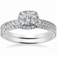 7 8ct cushion halo diamond engagement ring 14k white gold ebay