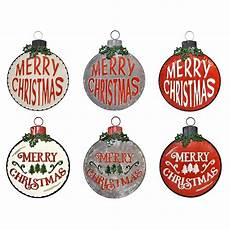 of 6 large galvanized quot merry christmas quot ornament wall signs