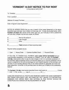 vermont 14 day notice to quit form non payment eforms