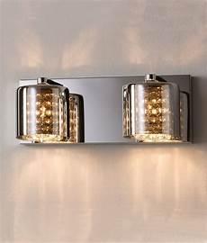 smoked glass crystal chrome wall light
