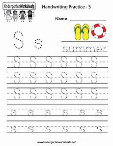 kindergarten letter s writing practice worksheet printable g pinterest writing practice