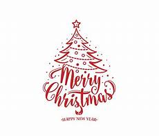 merry christmas and happy new year text tree with decoration type stock illustration