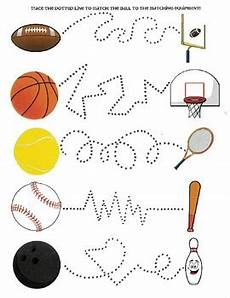 sports related worksheets 15870 sports matching tracing activity color word activities lesson plans for toddlers