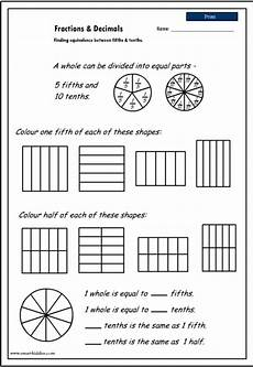 decimals worksheets tenths 7300 equivalence between fifths and tenths mathematics skills interactive activity lessons