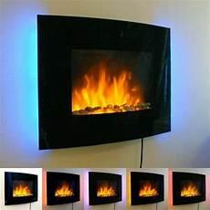 Slim Led Backlit Glass Wall Mounted Fireplace Heater