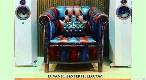 Poltrona Chesterfield Vintage Patchwork Blu E Rosso Nuova