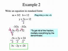 how to write equations in standard form standard form solve equations