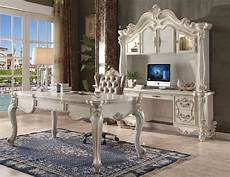 white home office furniture collections 92275 bone white finish home office set acme versailles