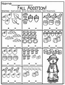 simple math addition worksheets with pictures 9646 simple addition sentences for fall kinderland collaborative simple addition
