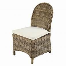maison du monde coussin de chaise chaise de jardin en r 233 sine tress 233 e et coussin 233 cru st