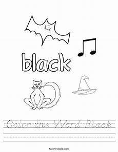 color the word black worksheet d nealian twisty noodle