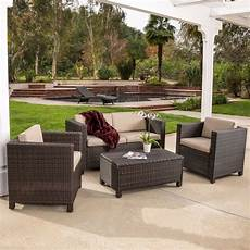 outdoor patio furniture brown pe wicker 4pcs sofa seating ebay