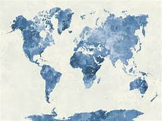 blue watercolour world map custom wallpaper