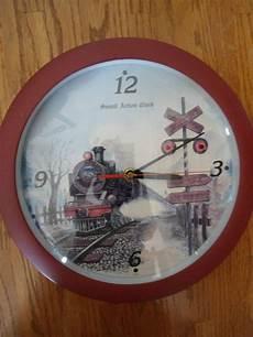 novelty railroad train wall clock with hourly train sound effects clock sound effects alarm