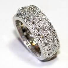details about 18k white gold 1 08ct pave diamond top side vintage milgrain wedding band ring