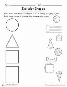 shapes objects worksheet 1222 two dimensional shape match up worksheet education