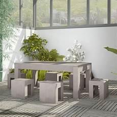 salon de jardin en beton salon de jardin en b 233 ton complet table avec 6 tabourets