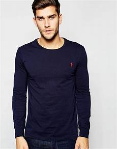 polo ralph t shirt with sleeves in navy in