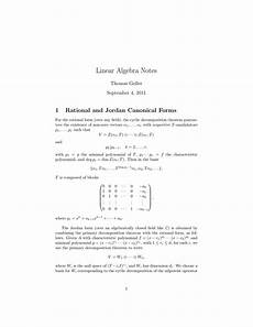 linear algebra notes 1 rational and canonical forms goller
