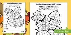 Malen Nach Zahlen Ausmalbilder Herbst Arabische Herbst Thematisierte Addition Und