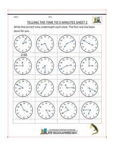 time worksheets math salamander 3089 telling time sheets to 5 minutes sheet 2 http www math salamanders telling time clock