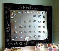 sheet metal tile magnets chalkboard paint calendar board craft tutorial whew calendar