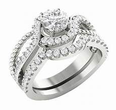 14k white gold si1 g 1 75tcw real diamond unique bridal ring engagement set band ebay