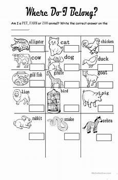 pet farm or zoo animals worksheet free esl