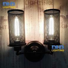 retro industrial double heads black iron wall sconce