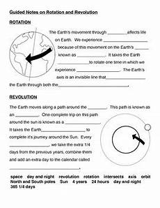 rotation of the earth worksheets 14448 earth s movement guided notes rotation and revolution by curly que science