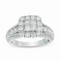 1 1 3 ct t w princess cut diamond frame multi row shank vintage style engagement ring in