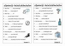 13 questions 4 am are is do does have has pair work worksheet free esl printable