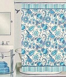 Navy And Teal Curtains by Peri Henley Floral Fabric Shower Curtain In