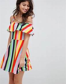 asos design rainbow stripe skater sundress with frill layer asos