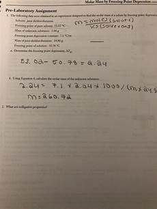 solved molar mass by freezing point depression con pre la chegg com