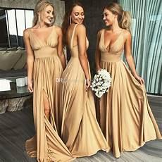 2019 gold bridesmaid dresses v neck empire