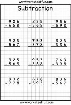 3 digit subtraction with regrouping worksheets 2nd grade 10626 3 digit borrow subtraction regrouping 5 worksheets free printable worksheets worksheetfun