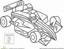 Color By Number Race Car  Worksheet Educationcom