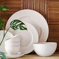 Textured Dinnerware Set White Stoneware Dinnerware
