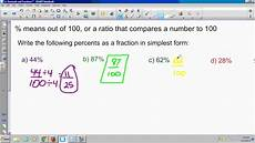2 2 write a percent as a fraction in simplest form youtube