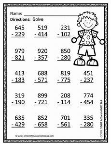 3rd grade math worksheet subtraction 3rd grade go math 1 10 use place value to subtract color