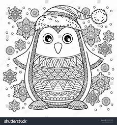merry jolly penguin detailed coloring stock
