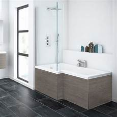 grey avola l shaped shower bath with screen panel