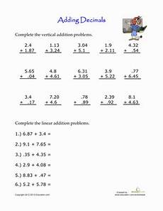5th grade math worksheet adding and subtracting decimals practice adding decimals worksheet education