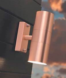 brushed copper up and down wall light